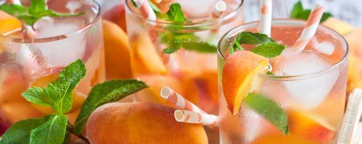 Receita de água aromatizada de pêssego, mirtilo e limão