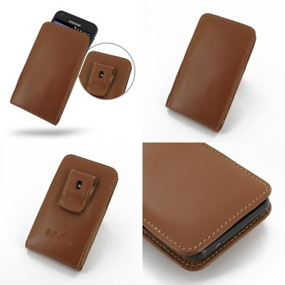 PDair Leather Case for Samsung Galaxy S II Epic 4G Touch SPH-D710 - Vertical Pouch Type Belt Clip Included (Brown)