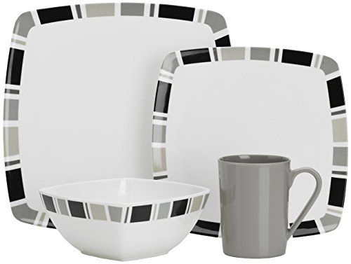 Flamefield Carre Premium Melamine Set (Pack of 16) - White/Grey Flamefield Carre Square 16pc Premium Plus Melamine SetA contemporary designed melamine set, ideal for elegant casual diningIdeal for Camping, caravanning, Picnics and days out100% melamine, BPA freeDishwasher safe at low temperatures. Not to be used in a microwaveSet comprises of: 4x dinner plates, 4x side plates, 4x bowls, 4x cups