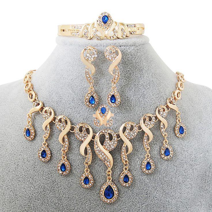 Elegant Tassel Nigerian Necklace Earrings For Women Wedding African Beads Jewelry Set Cz  Crystal Ring Bridal Gift