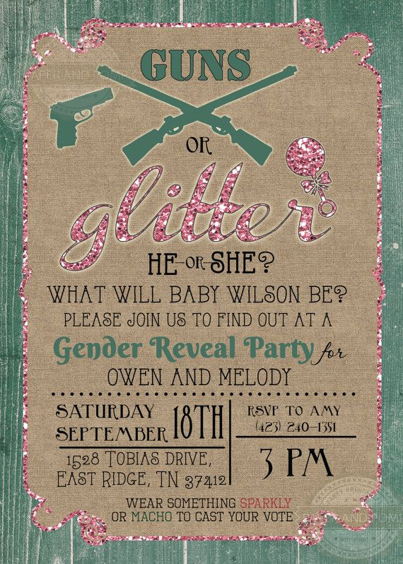 Guns or Glitter Gender Reveal Baby Shower by PaperandPomp on Etsy