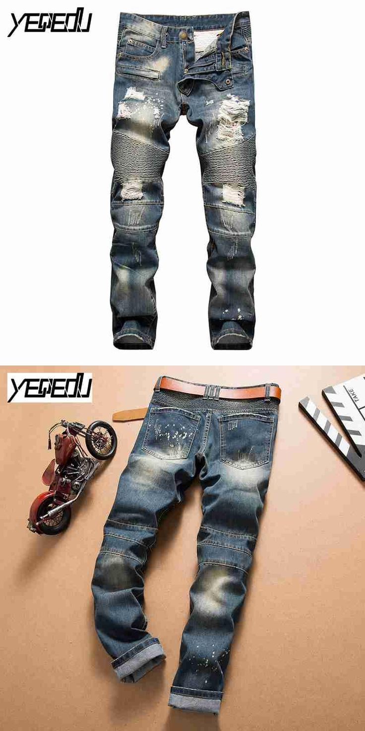#2739 2017 Vintage Pleated Jogger jeans Fashion Skinny Pantalon hombre Distressed jeans for men Straight Moto Pantalon homme