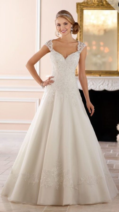 New stella york 6439 a line wedding dress lace beaded for Wedding dresses with ruching and dropped waist