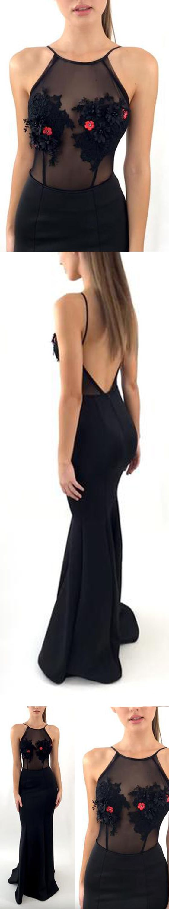 Long Mermaid Sexy Open Back Seen Through Long Prom Dresses, PM0786 #promdress #longpromdress