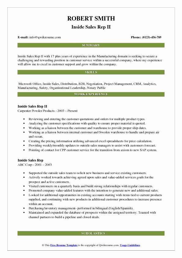 Sales Representative Resume Description Awesome Inside Sales Rep