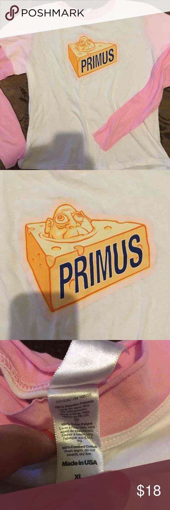 Primus band juniors cheese head long sleeve tee Juniors xL fits like a women's small to medium soft NWOT Tops Tees - Long Sleeve