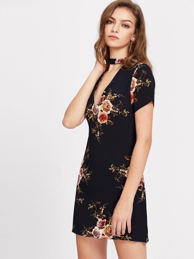 Navy V Neckline Cut Out Floral Chiffon Dress