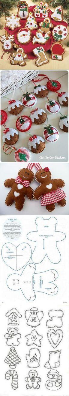 Красивые, чудесные игрушки из фетра + шаблоны на Елку.. | куклы своими руками | Постила