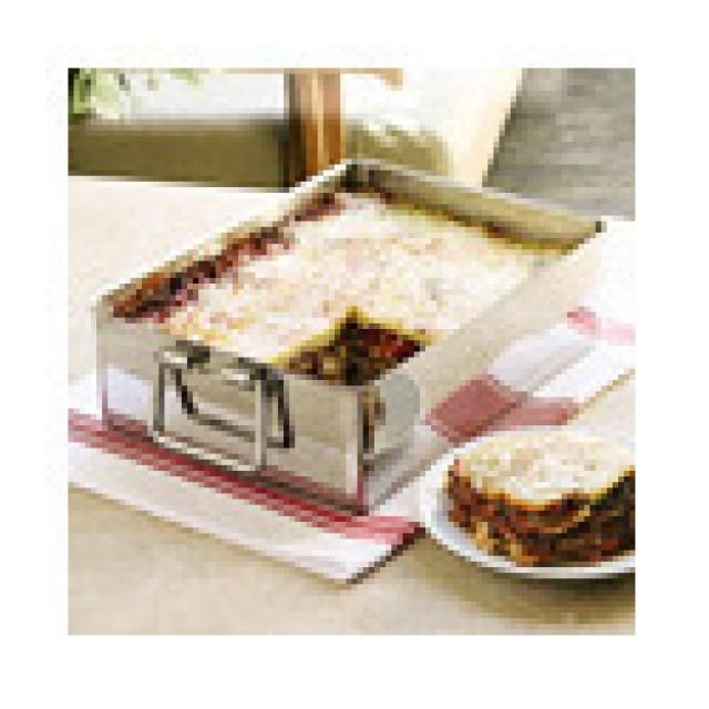 Make your lasagna in a deep dish for best flavor; here's a few pan options: Chef's Essentials Large Stainless Steel Lasagna Pan