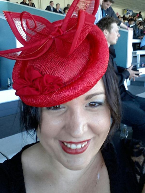 Happy Customer wearing Commissioned Race Day hat I designed and made -Inspired By Kate Middletons Red Hat