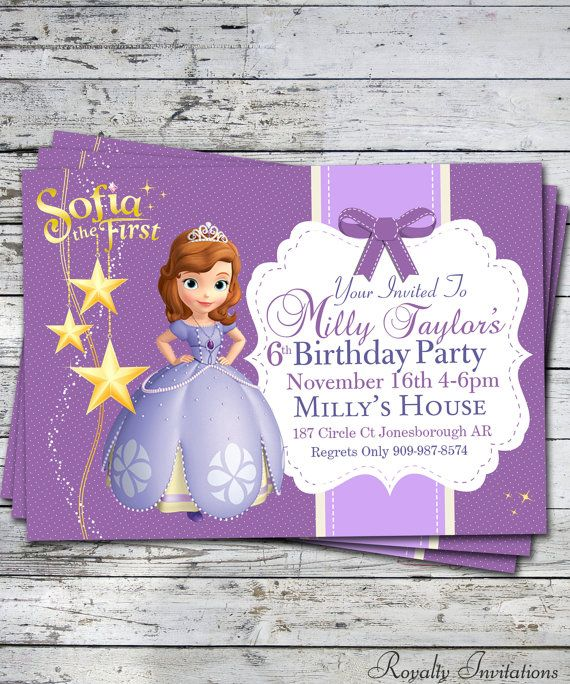 sofia the first birthday party invitation kids birthday princess
