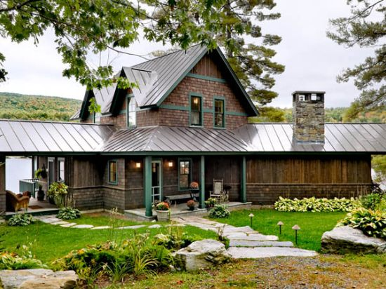 Metal roof stained cedar shake houses pinterest Cabins with metal roofs