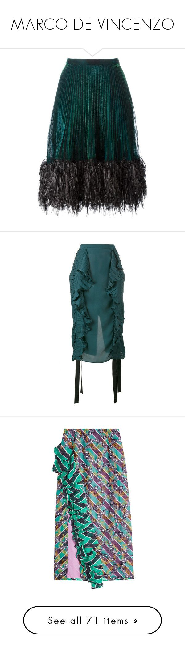 """""""MARCO DE VINCENZO"""" by mari-sv ❤ liked on Polyvore featuring skirts, marco de vincenzo, green, pleated skirt, green skirt, knee length pleated skirt, green pleated skirt, ruched skirt, green pencil skirt and ruffled skirts"""