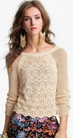 Красивый узор для пуловера. Схема