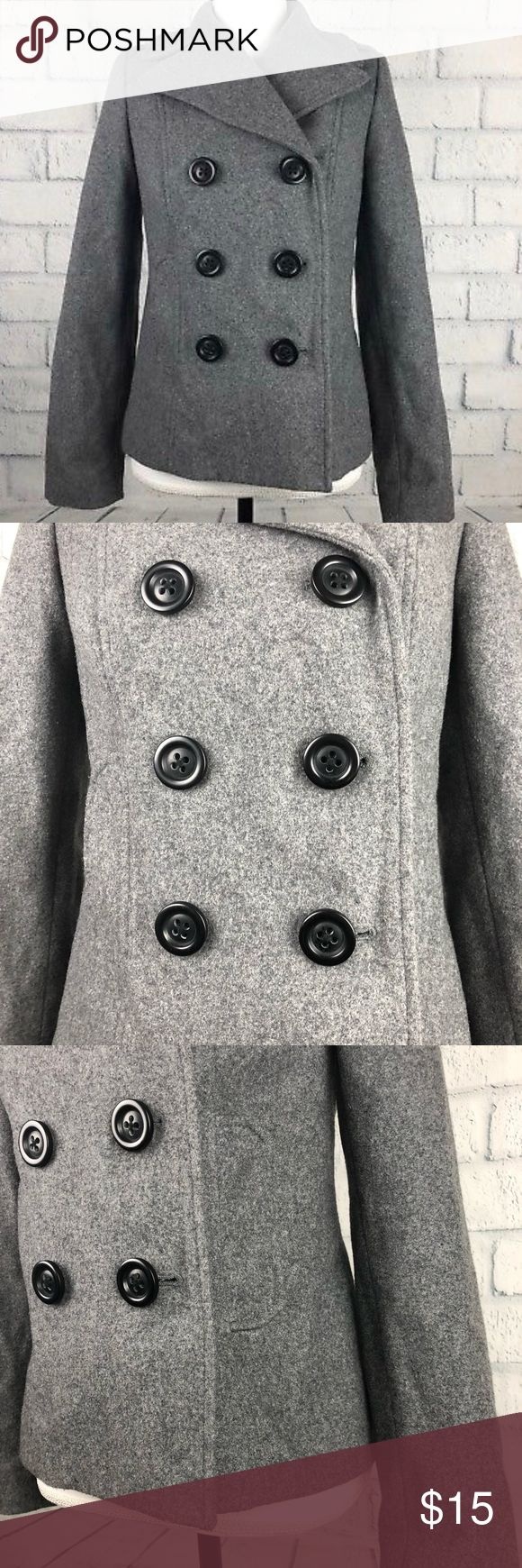 Old navy peacoat gray XS lined Old Navy women peacoat short gray size XS 3 buttons pockets #PM  Approx. flay lay measurements: pit to pit: 17' arm: 24' back neckline to bottom: 23' Pictures may appear darker or lighter due to lighting and camera. Please email with questions. Thanks for looking! Old Navy Jackets & Coats Pea Coats