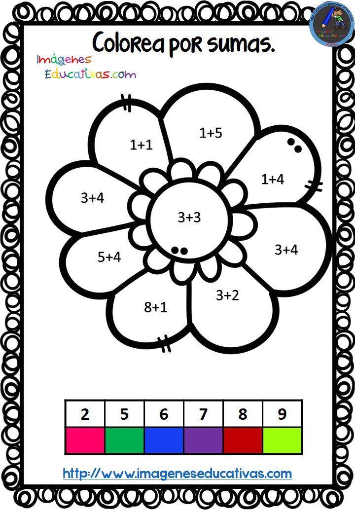 Coloreamos por colores Sumas con motivos de primavera Fichas de matemáticas para sumar y colorear según el resultado, de manera que los niños además de practicar la suma se entretengan coloreando estos estupendos dibujos...