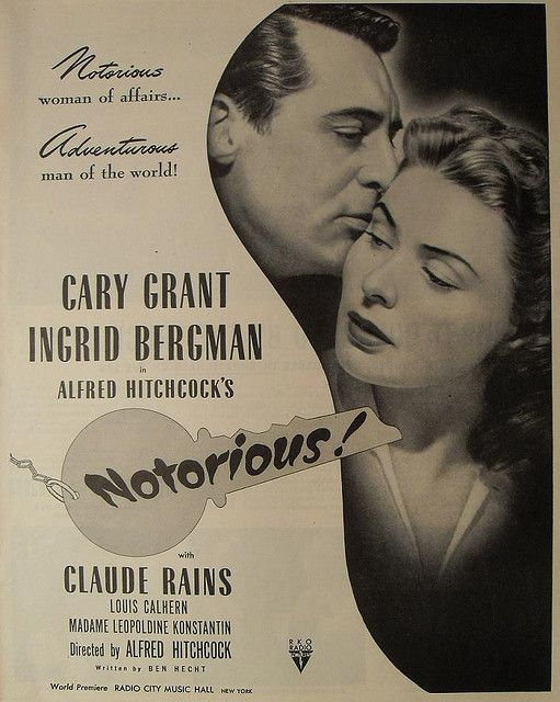 1940s Vintage Movie Poster 1946 ALFRED HITCHCOCK Notorious ILLUSTRATION Cary Grant INGRID BERGMAN Claude Rains