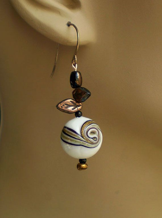 Copper White Black Spiral by EachBeadCounts on Etsy