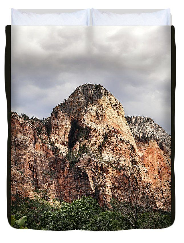 Landscape Duvet Cover featuring the photograph Dramatic Mount by Evgeniya Lystsova. Layers upon layers of colorful red rock peaks at Zion National Park, Utah, USA. Make your Home special with stylish art products you choose! Our soft microfiber duvet covers are hand sewn and include a hidden zipper for easy washing and assembly. Your selected image is printed on the top surface with a soft white surface underneath. #HomeDecor #DuvetCover #Bedroom #Mountain #Zion