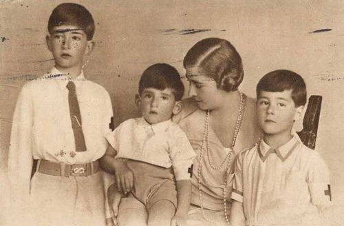 Queen Maria of Yugoslavia with her three sons: Crown Prince Peter, Prince Andrej and Prince Tomislav of Yugoslavia. Circa 1930s.