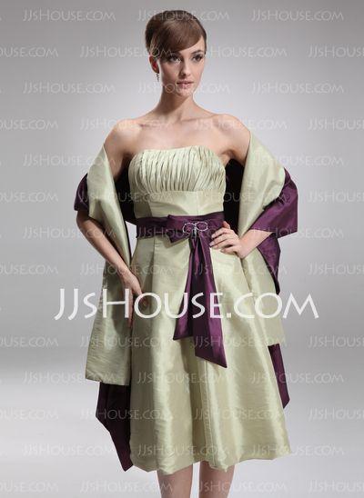 Bridesmaid Dresses - $89.99 - A-Line/Princess Strapless Knee-Length Taffeta Bridesmaid Dress With Ruffle Sash (007001012) http://jjshouse.com/A-Line-Princess-Strapless-Knee-Length-Taffeta-Bridesmaid-Dress-With-Ruffle-Sash-007001012-g1012