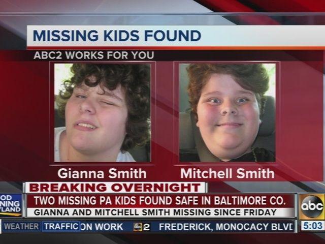 2 missing Pennsylvania children found safe in Baltimore County http://www.abc2news.com/news/region/baltimore-county/2-missing-pennsylvania-children-found-safe-in-baltimore-county