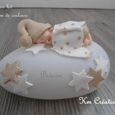 Veilleuse led bébé en fimo et sa couverture en blanc et beige