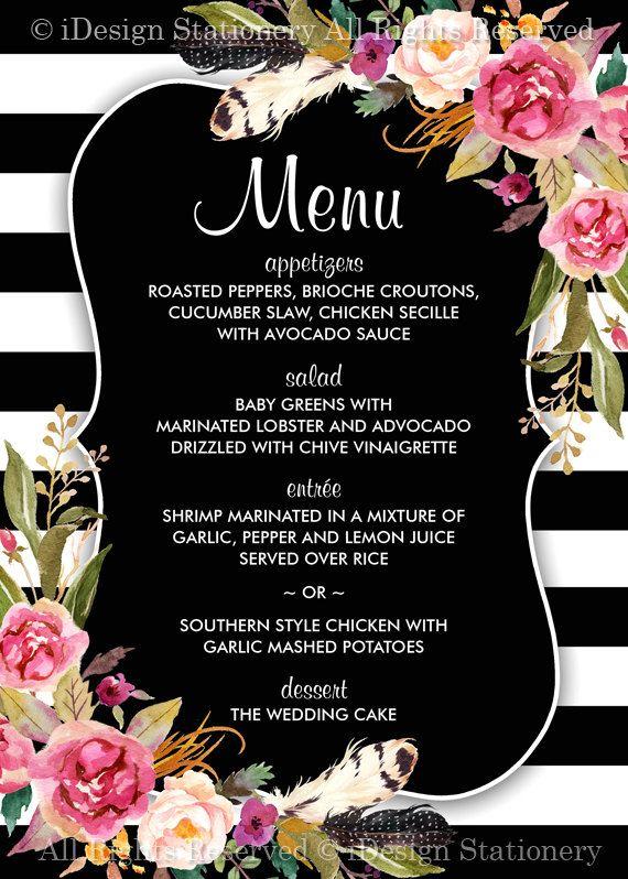 Wedding Menu Cards  Elegant Printable Floral Boho Chic Black