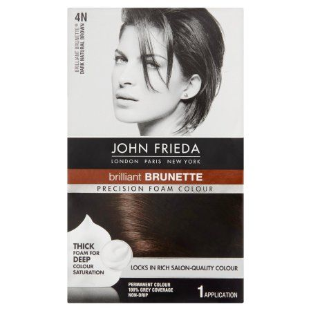 John Frieda Precision Foam Colour Brilliant Brunette 4N Dark Natural Brown Permanent Colour, 1.0 KIT, Beige