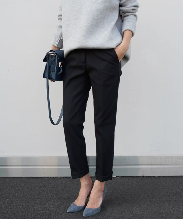 Chic Style - grey sweater, trousers & chalky blue accessories