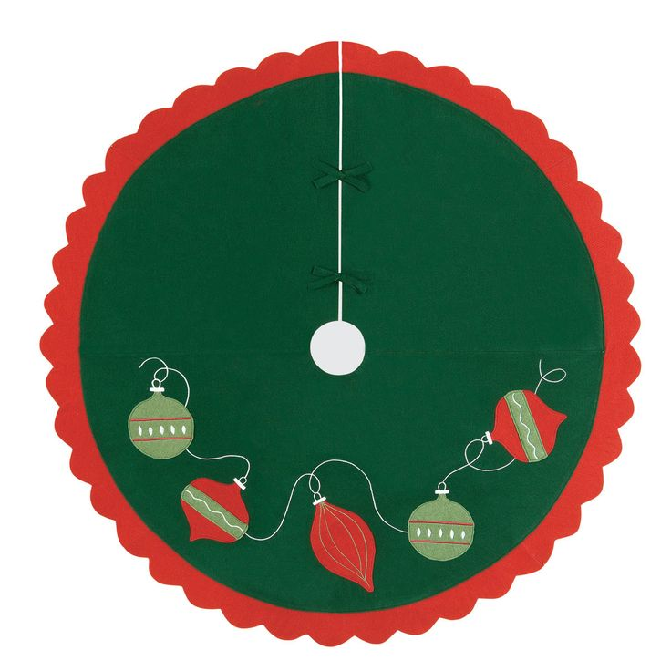 Features:  -Material: Felt.  -Christmas holiday.  -Color: Green, red.  Product Type: -Tree Skirts.  Holiday Theme: -Yes.  Seasonal Theme: -Yes.  Holiday: -Christmas.  Season: -Winter. Dimensions:  Ove