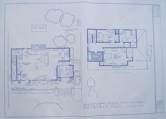 Andy Taylor House Blueprint From The Andy by BlueprintPlace, $14.99. This would be an awesome house to build.