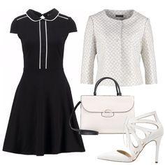 Vestito nero con colletto bianco brioni