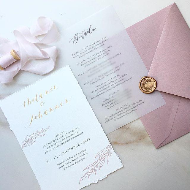 Wedding Invitation Hochzeitseinladung Vellum White Gold Rose Weiss Transparent Gold Rosa Altrosa Hochzeitseinladung Papeterie Hochzeit Einladungen