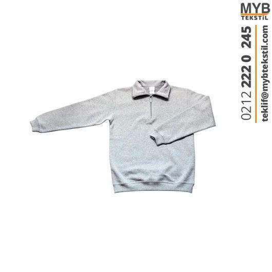 Sweat T-Shirt Fermuar Yaka
