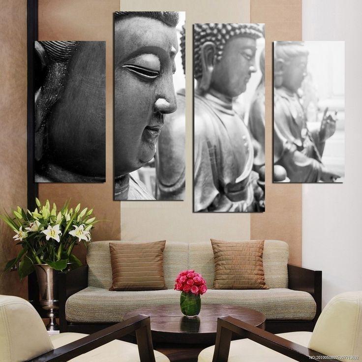 Cheap 4 wall stickers decorazione della casa interni oriental arte Buddista tela immagini digitali in parti libero (senza cornice) F1857, Compro Qualità   direttamente da fornitori della Cina: