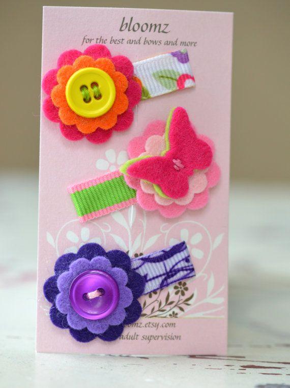 Felt Flower Snap Clips . Itty Bitty Flowers. Butterfly - Trio of Felt Flower Snap Hair Clips