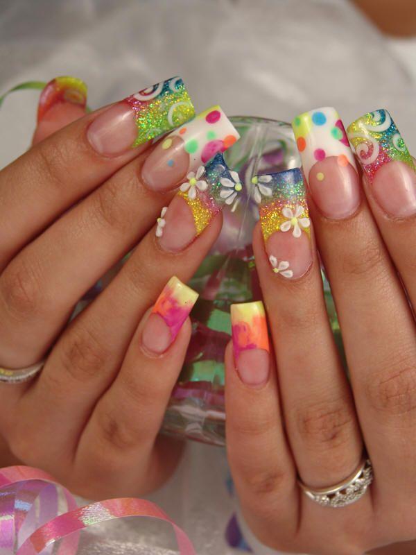 Cute Fun Nails :) #acrylics #french #3D flowers #rainbow #summer #nail art