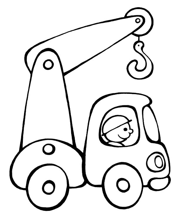 Building Truck Line Drawing Coloring Page