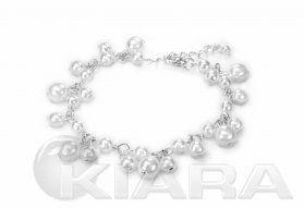 Bransoleta z selekcjonowanych, białych błyszczących perełek szklanych Jablonex, rozmiary od 4mm do 8mm. Forma dowieszanych elementów.