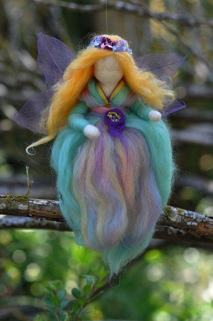 Waldorf wool felted flower fairy