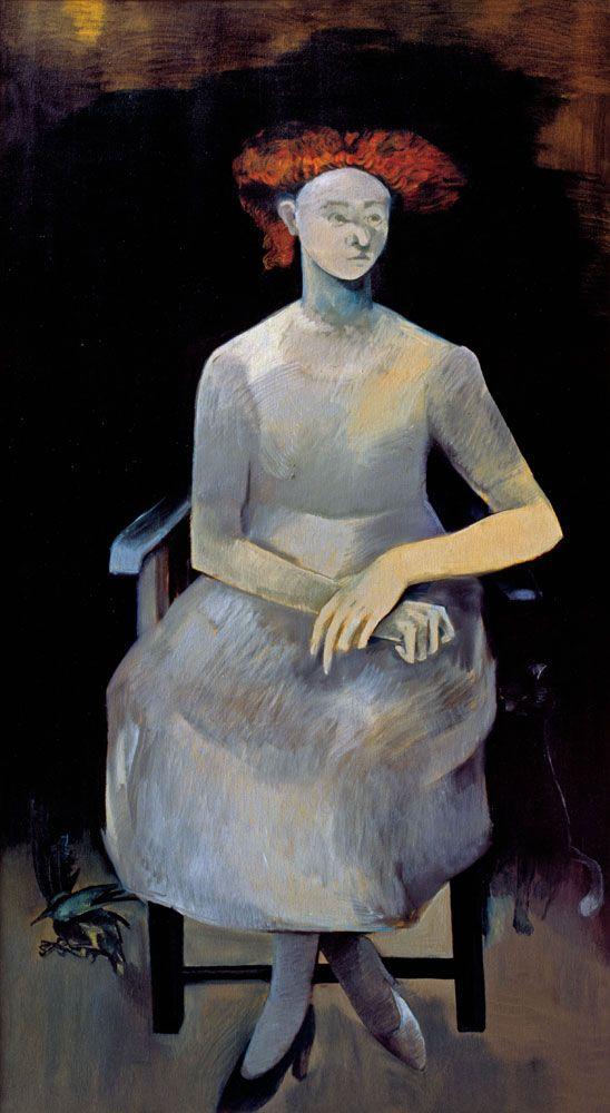 Neşe ERDOK, Kırmızı Saçlı Kız, 180x100 cm, 1980 , Tuval üzerine yağlıboya