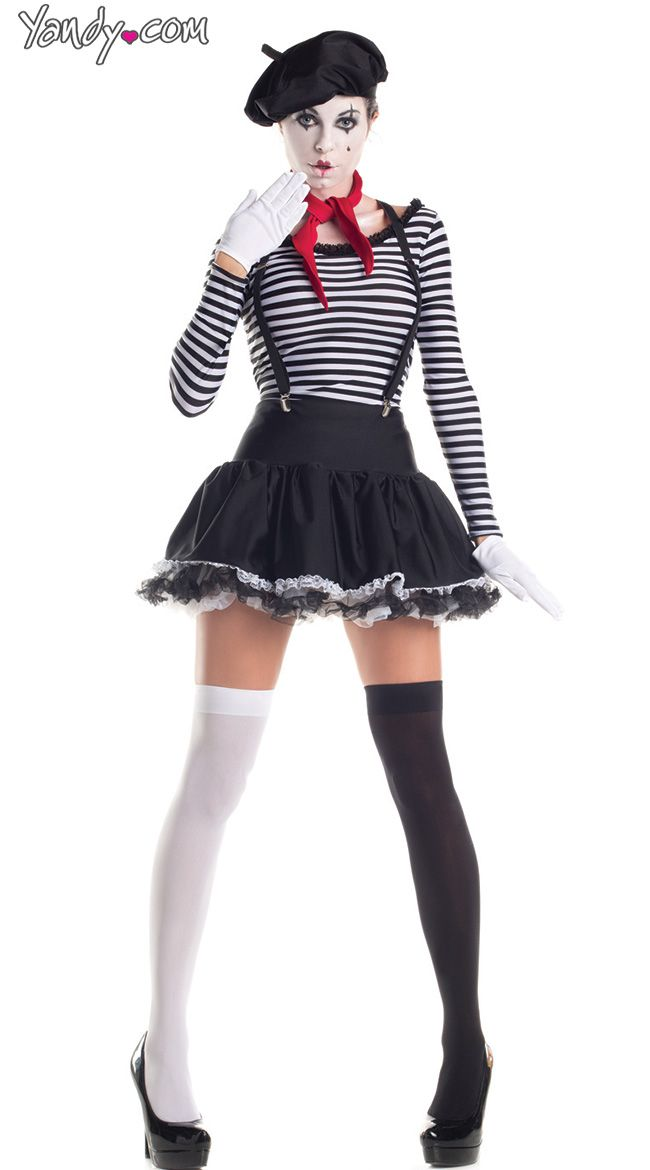 french beret, red ascot, black and white striped crop top, black skirt and knee highs or high waist black skinny jeans
