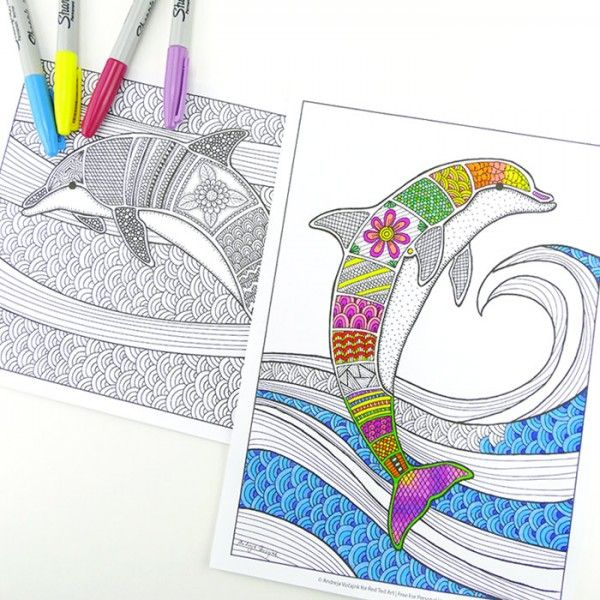 Coloring Pages for Grown Ups - wonderful dolphins & oceans - calming and beautiful (1)