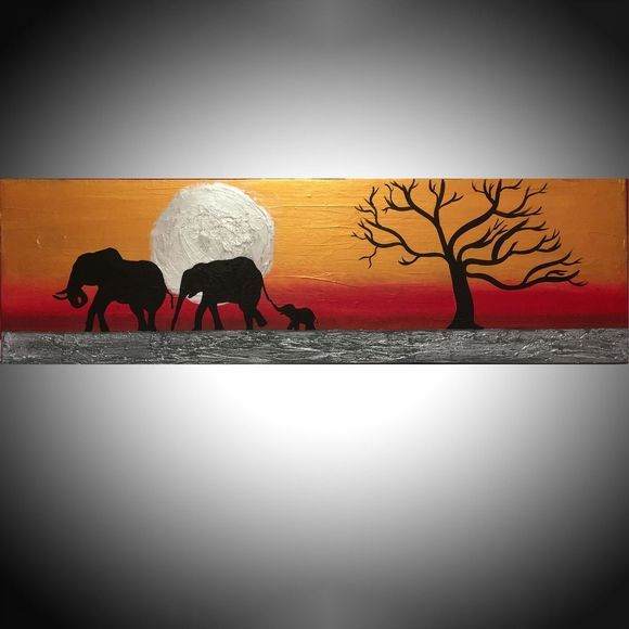 "original abstract landscape ""elephants on silver sun"" tree of life gold metallic silver impasto africa animal africa safari painting art canvas - 30 x 90 cm"