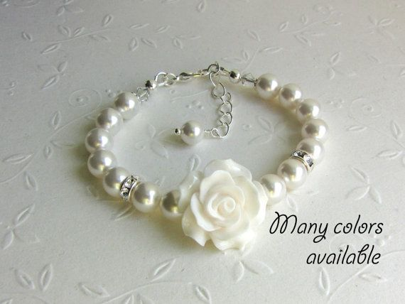 Flower GIRL GIFTS Swarovski Pearl Bracelet White rose pearls and crystals Junior Bridesmaid gifts, Baby Toddler Girl Jewelry, Wedding Bridal on Etsy, $14.90