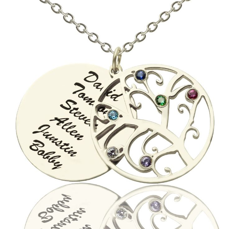 Sterling Silver Family Tree Necklace with Birthstones