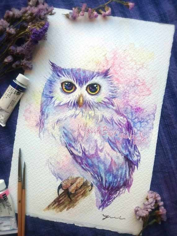 Owl Original Watercolor Painting 7 5x11 Inches In 2020