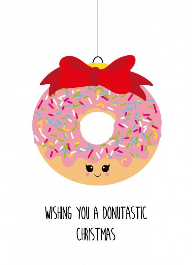Wishing you a donutastic christmas Wishing you a donutastic christmas donut kerstkaart is geschikt voor iedereen die van kerst houdt en van een grapje in de tekst.