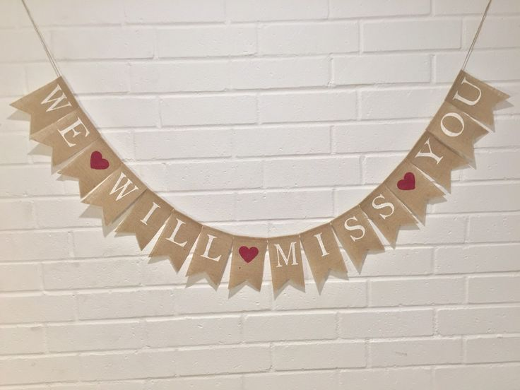 we will miss you burlap banner  going away banner  memorial banner  retirement burlap banner
